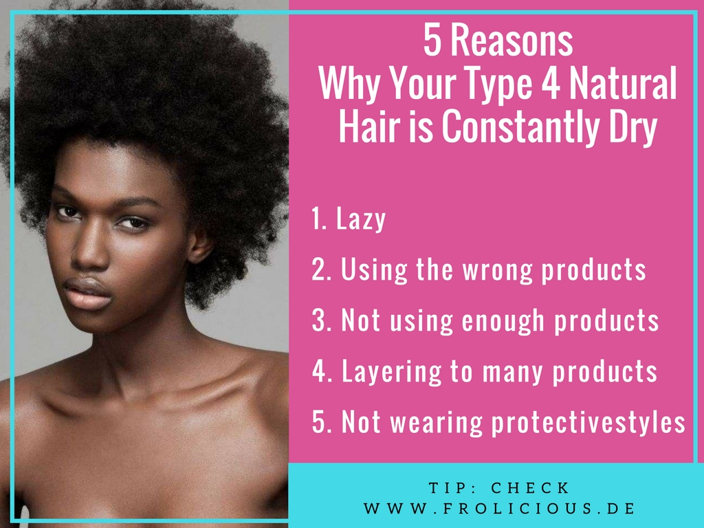 The dry hair situation is one reason why people go back to relax their hair. However, I have done my research and I have some answers for you. Here are 5 reasons why your type 4 natural hair is constantly dry.